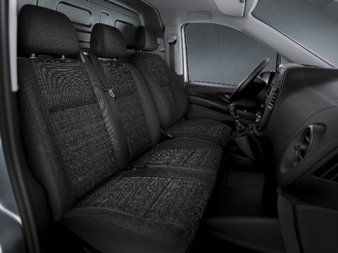 DOUBLE SINGLE MERCEDES SPRINTER BLACK//RED TRIM VAN SEAT COVERS